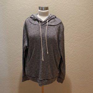 NWOT J. Crew Black/White striped knit hoodie sz XL